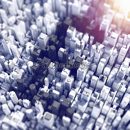 aerial view of city skyscrapers forming