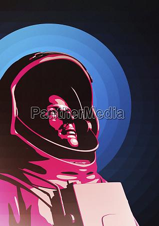 astronaut traegt weltraumanzug mit blick auf