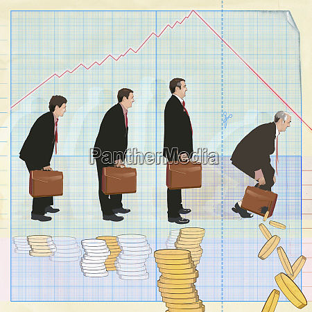 businessmen standing over stacks of coins