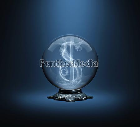 dollar sign inside crystal ball