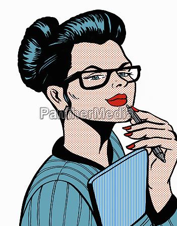 umfassende geschaeftsfrau mit stift und notizblock