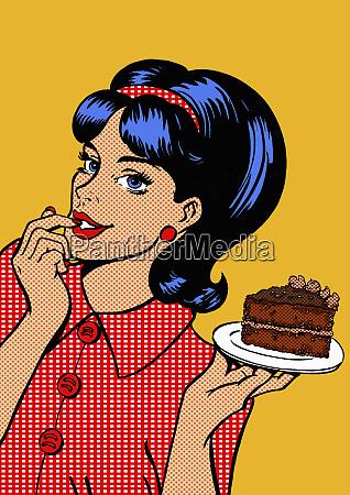 junge frau versucht durch scheibe schokoladenkuchen