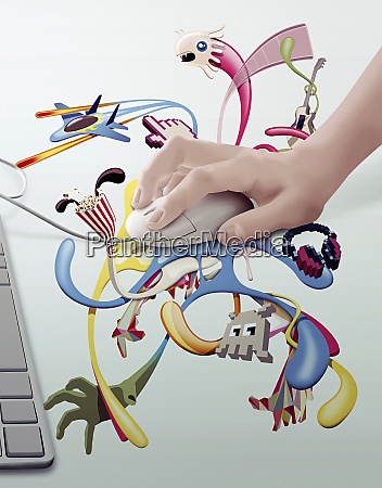 computer mouse with montage of entertainment