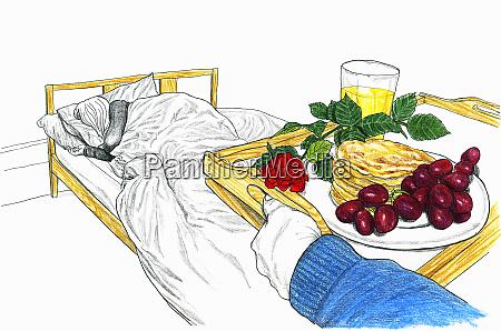 mann bringt tablett mit fruehstueck im