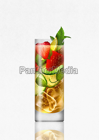 summer cocktail drink with fruit