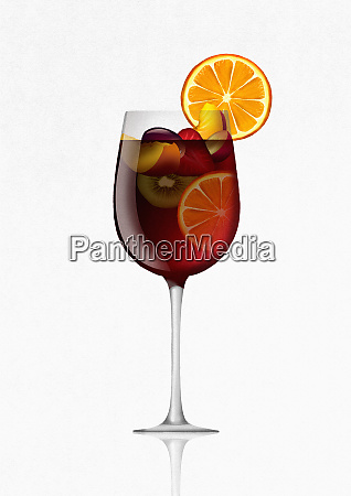 glass of sangria cocktail with fruit