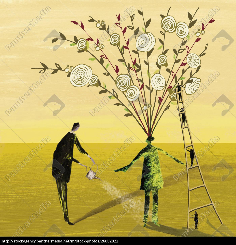 geschäftsleute, pflegen, grüne, mitarbeiter, mit, rosen, die - 26002022