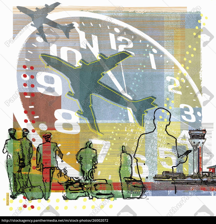 piloten, laufen, unter, uhr, und, flugzeuge - 26002072