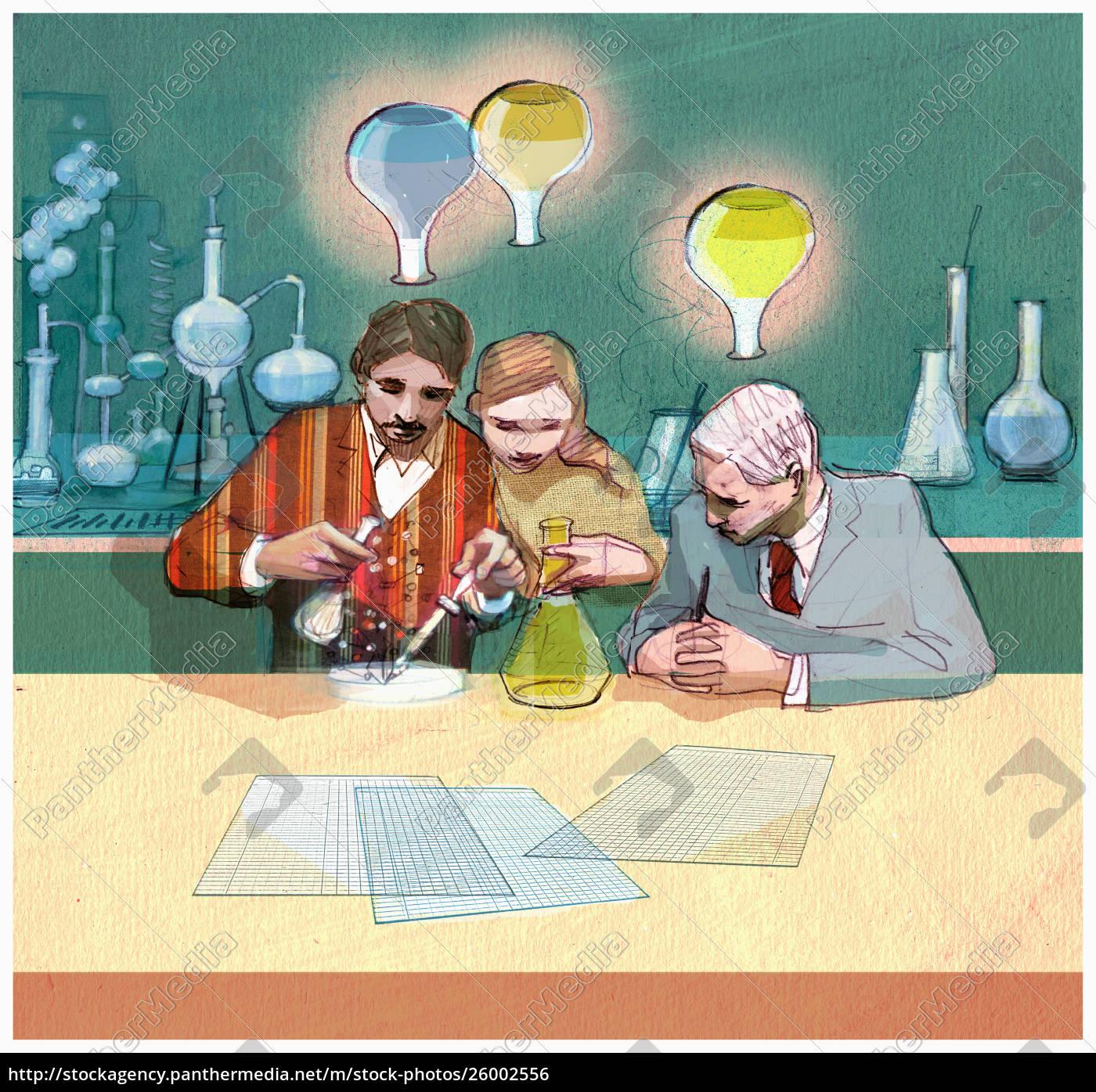wissenschaftler, arbeiten, an, experimenten - 26002556