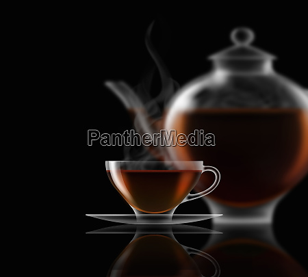 black tea glass teacup saucer and