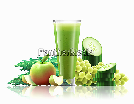 glass of apple kale cucumber and