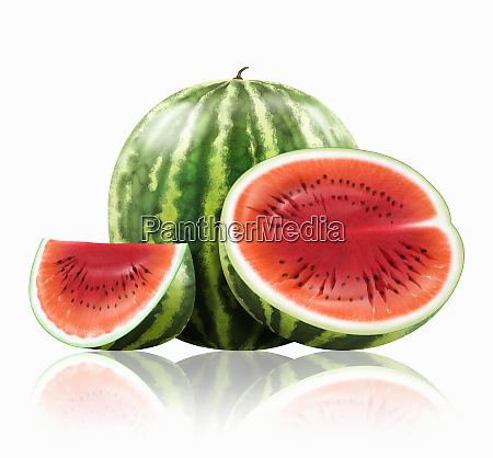 whole and cut watermelon