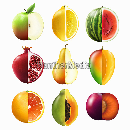 montage of rows of bisected fruit