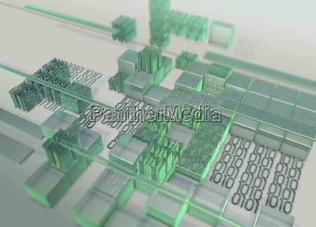 blocks of green binary code data