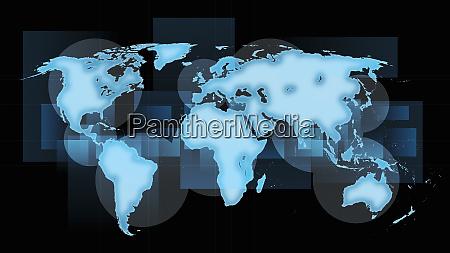 weltkarte der blauen kontinente auf schwarzem