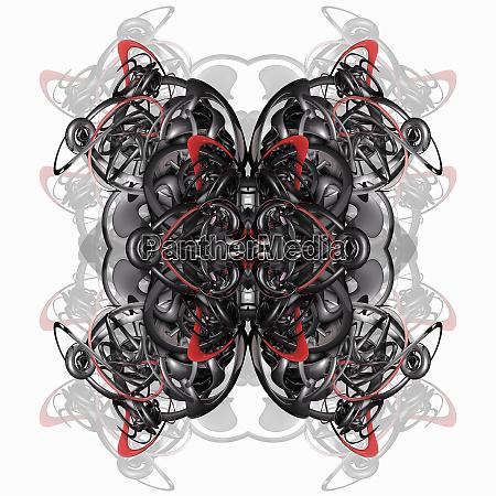 metallic tangled symmetrical abstract pattern