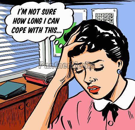 frustrierte geschaeftsfrau besorgt in gedankenblase