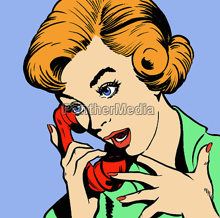 surprised woman talking on telephone