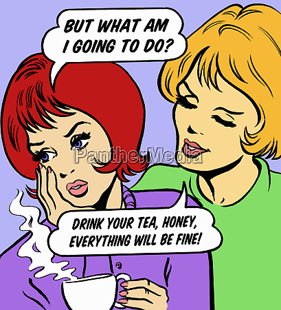 woman consoling worried friend with tea