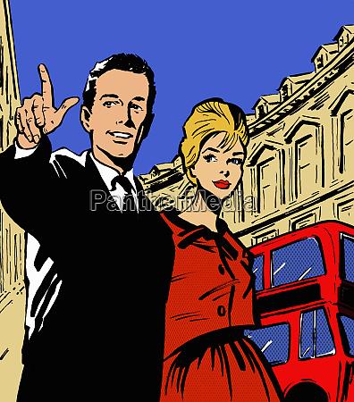 retro couple sightseeing in london
