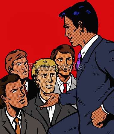 manager speaking to unhappy businessmen