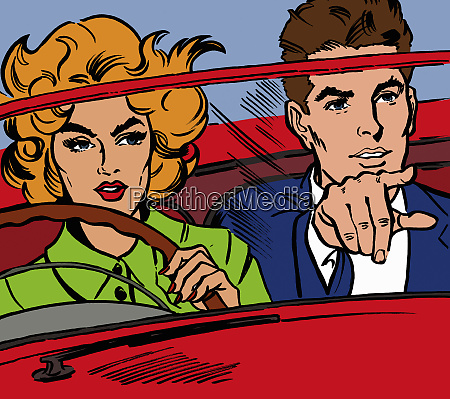 close up of couple driving red