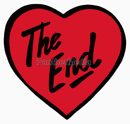 the end written on red heart