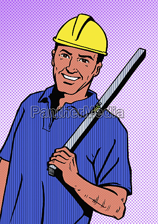cheerful builder with hard hat and