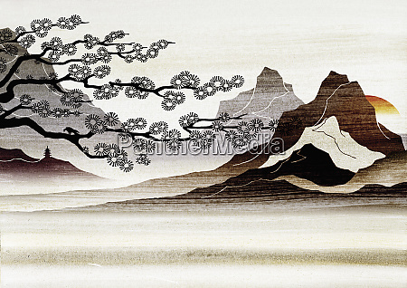 blooming tree and mountains