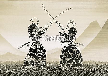 asian men sword fighting