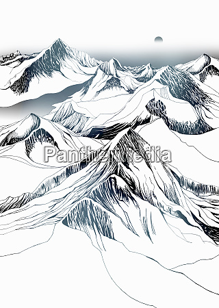 snow covered mountains with sun in