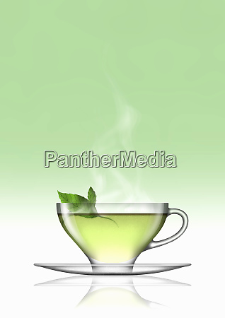 mint tea in glass teacup and
