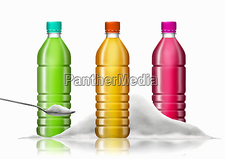 row of brightly colored soft drink