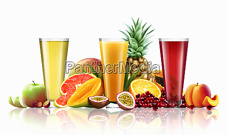 three glasses of different fruit juices