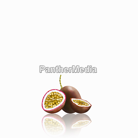 fresh passionfruit whole and halved