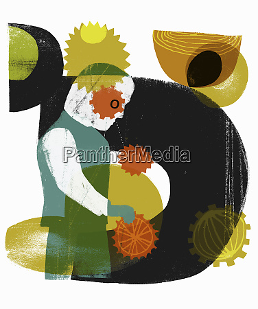 abstract pattern on worker turning cogs