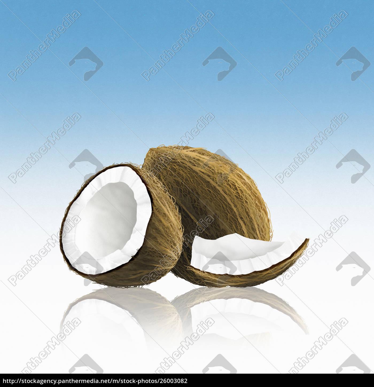 ganze, kokosnuss, mit, stücken - 26003082