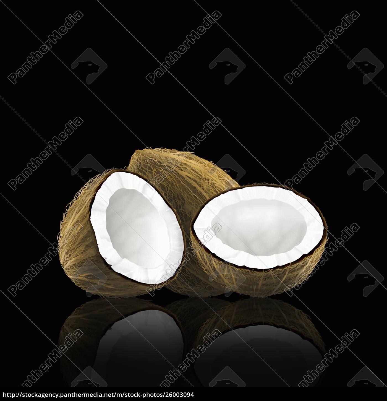 ganze, und, halbierte, kokosnuss - 26003094