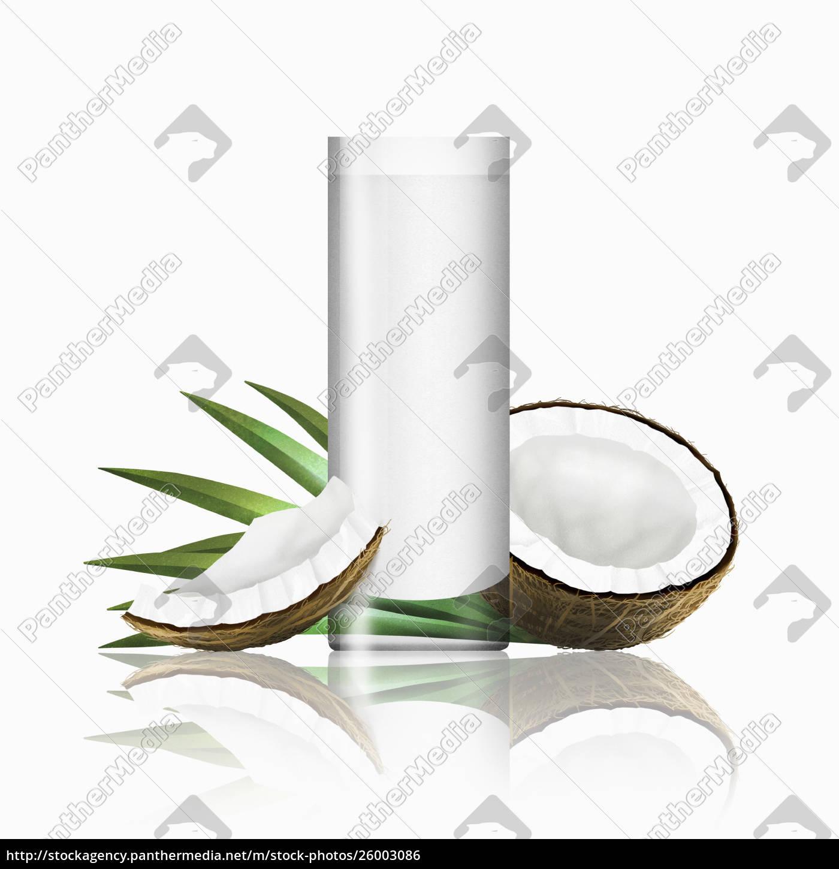 glas, kokosmilch, mit, kokosnussstücken - 26003086