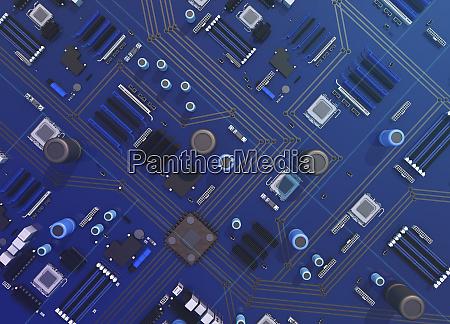 overhead-ansicht, von, computer-motherboard - 26003118