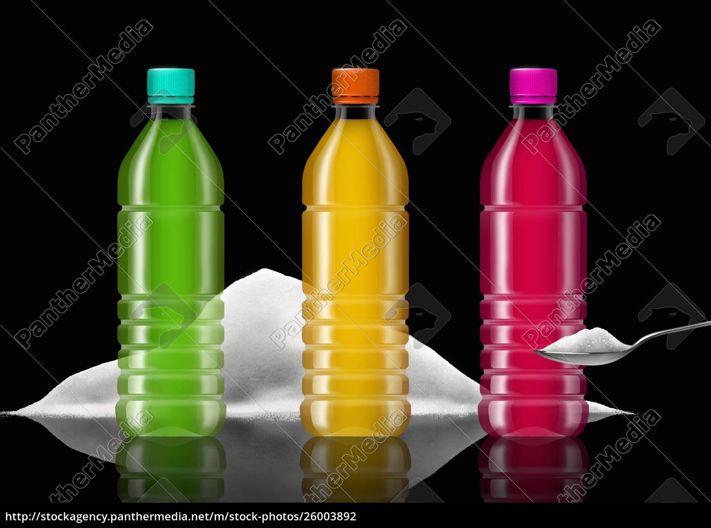reihe, von, bunten, softdrink-flaschen, und, zuckerhaufen - 26003892
