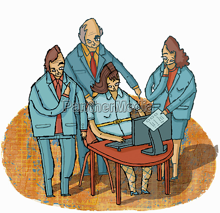managers giving instructions to overworked businesswoman