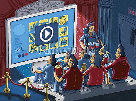 happy audience enjoying watching entertaining video