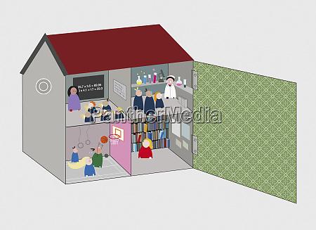 classrooms inside schoolhouse