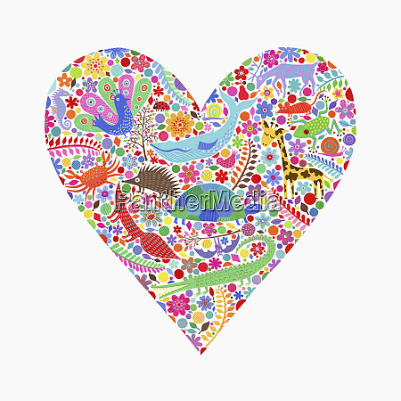 animals and floral design forming heart