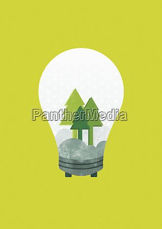 trees inside light bulb