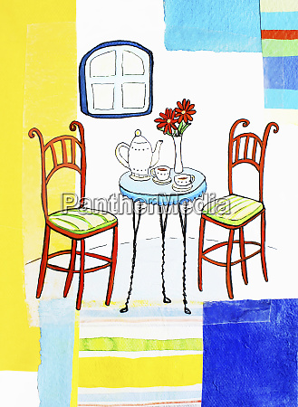 teapot and teacups on table with