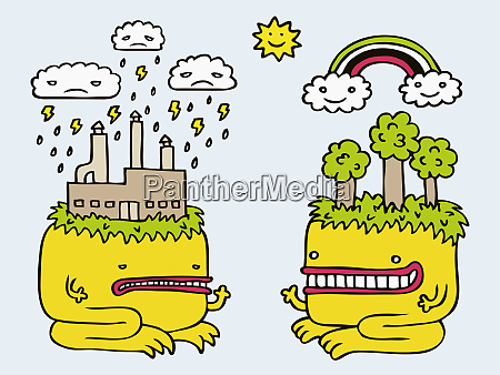 polluting monster facing eco friendly monster