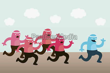 happy creature running with group of