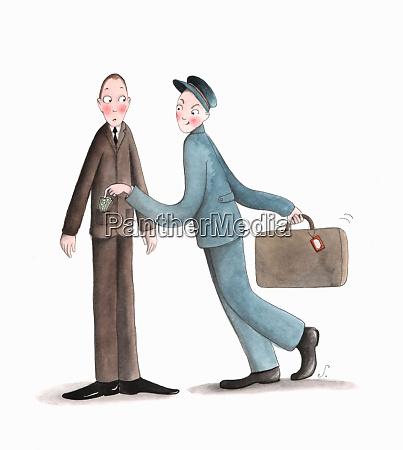 porter taking money from businessmans pocket